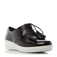 Fitflop Classic Tassel Patent Oxford Shoes Jet Black