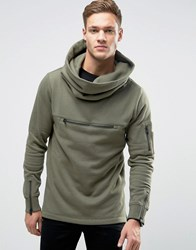 Jack And Jones Core Funnel Neck Sweatshirt Dusty Olive Green