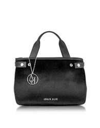Armani Jeans Eco Leather And Hair Calf Tote Bag Black