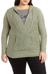 Addition Elle Love And Legend Plus Size Women's Acid Wash Hoodie Sweater Thyme