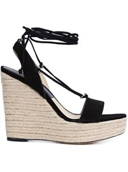 Michael Kors Lace Up Wedge Espadrilles Black