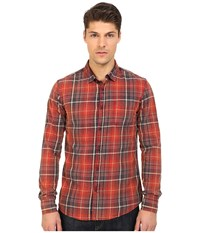Mavi Jeans Plaid Button Down Burnt Red Checked Men's Long Sleeve Button Up