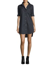 Frame Denim Le Poplin Button Front Shirtdress Noir