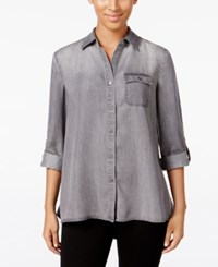 Styleandco. Style Co. Button Back Denim Shirt Only At Macy's Grey Wash