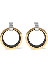 Marni Gold And Silver Tone Enamel Clip Earrings One Size