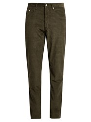 Maison Kitsune Slim Fit Cotton Corduroy Trousers Green