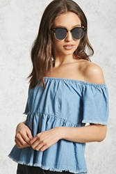 Forever 21 Chambray Off The Shoulder Top Denim