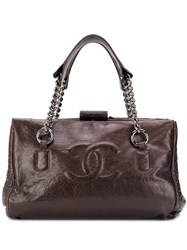 Chanel Vintage Cc Logo Tote Bag Brown