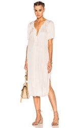 Raquel Allegra Liquid Satin Ribbon Placket Dress In Neutrals