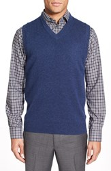 Men's Big And Tall Nordstrom Cashmere V Neck Sweater Vest Blue Estate Heather