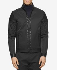 Calvin Klein Men's Coat With Faux Leather Trim Black