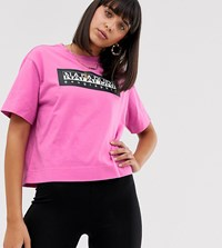 Napapijri The Tribe Sait Cropped T Shirt In Pink