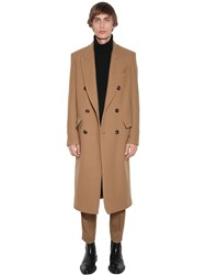 Ami Alexandre Mattiussi Double Breasted Wool Blend Camel Coat