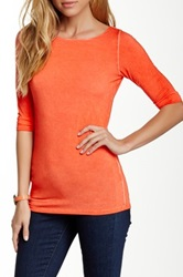 Majestic Boatneck 3 4 Sleeve Washed Tee Orange