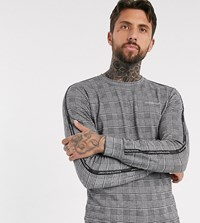 Good For Nothing Relaxed Fit Sweatshirt In Prince Of Wales Check Grey