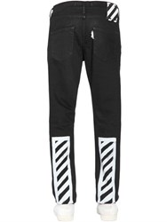 Off White Slim Brushed Stripes Cotton Jeans