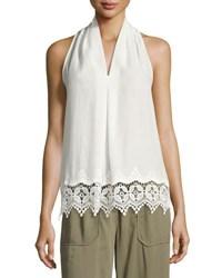 Max Studio Embroidered Trim Sleeveless Blouse White