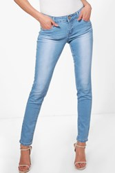 Boohoo Light Wash 5 Pocket Skinny Jeans Blue