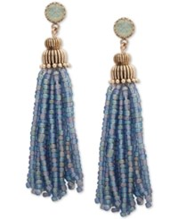 Lonna And Lilly Gold Tone Stone Beaded Tassel Drop Earrings Blue