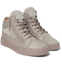 Giuseppe Zanotti Leather And Suede High Top Sneakers Taupe