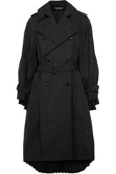 Junya Watanabe Oversized Pleated Pinstriped Wool Blend Trench Coat Black
