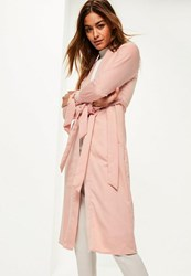 Missguided Pink Tie Cuff Duster Coat Blush