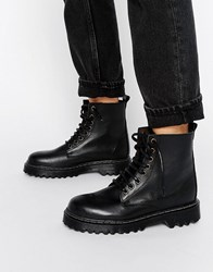 Park Lane Chunky Sole Lace Up Boot Black Leather