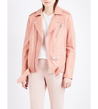 Theory Tralsmin Leather Jacket Pink Rose