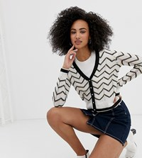 River Island Cardigan With Chevron Stripes In White
