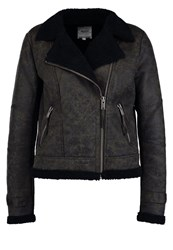 Object Objamarillo Faux Leather Jacket Beluga Dark Grey