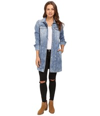 7 For All Mankind Long Trucker Jacket In Light Brighton Blue Light Brighton Blue Women's Coat