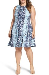 Gabby Skye Plus Size Women's Abstract Print Jersey Fit And Flare Dress