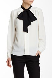 Cynthia Steffe Long Sleeve Bow Front Blouse White
