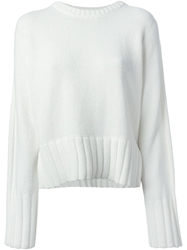 T By Alexander Wang Slouchy Knit Sweater White