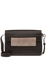 Jaeger Leather Contrast Pocket Bag Black