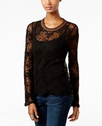 Inc International Concepts Metallic Trim Lace Sweater Only At Macy's Deep Black