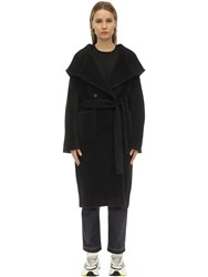 Tagliatore Daisy Hooded Alpaca And Wool Coat Black