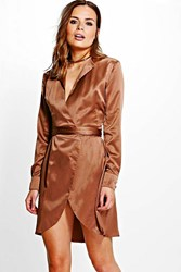 Boohoo Satin Wrap Shirt Dress Chocolate