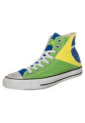 Converse Chuck Taylor All Star Hi Graphics Canvas Hightop Trainers Brasil Flag Stone Washed Green