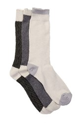 Lucky Brand Marled Colorblock Crew Cut Socks Pack Of 3 Gray