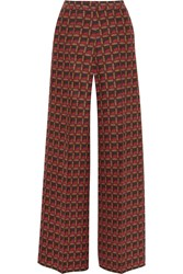 Etro Printed Silk Blend Crepe Wide Leg Pants Red