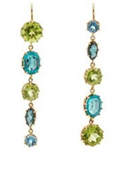 Renee Lewis Women's Mismatched Mixed Gemstone Drop Earrings Colorless