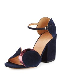 Dries Van Noten Circle Cut Suede Block Heel Sandal Navy