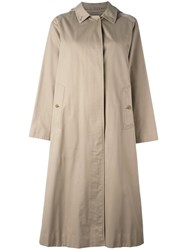 Burberry Vintage Long Line Trench Coat Nude Neutrals