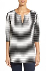Women's Gibson Stripe Split Neck Tunic Black White