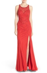 Women's Sean Collection Backless Embellished Net Gown Red