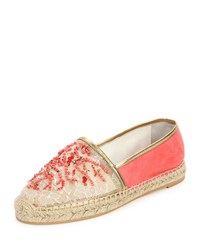 Rene Caovilla Beaded Lace And Suede Espadrille Coral