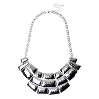 Adele Marie Beaten Effect Collar Necklace Silver