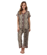 Bedhead Short Sleeve Notch Collar And Capri Wild Thing Women's Pajama Sets Brown