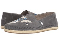 Toms Premium Alpargata Castlerock Tribal Embroidered Men's Slip On Shoes Gray